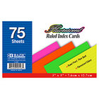 Index Cards, 3x5 Rules Fluoresent, 75 ct.