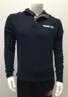 Knit Navy Pullover 1/4 Button and Zipper