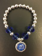 Bracelet, Twisted Rope Circle Griz Silver and Royal Beads